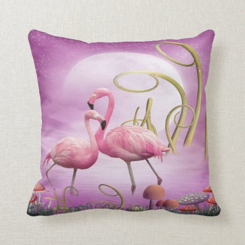 Whimsical Pink Flamingos Pillow