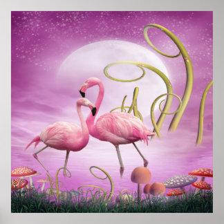 Whimsical Pink Flamingos Poster