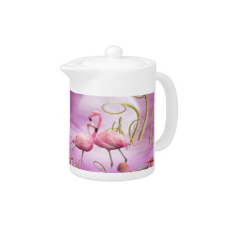 Whimsical Pink Flamingos Teapot