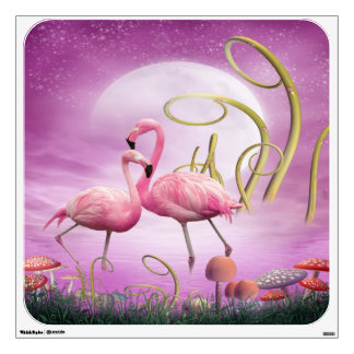 Whimsical Pink Flamingos Wall Decal