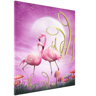 Whimsical Pink Flamingos Wrapped Canvas Canvas Print