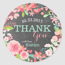 Whimsical Pink Floral Wreath Chalkboard Thank You Classic Round Sticker