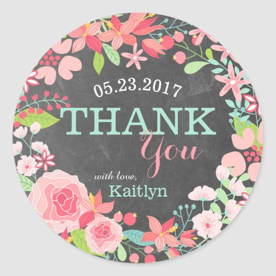 Whimsical Pink Floral Wreath Chalkboard Thank You Classic Round