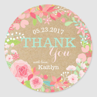 Whimsical Pink Floral Wreath Kraft Paper Thank You Classic Round Sticker