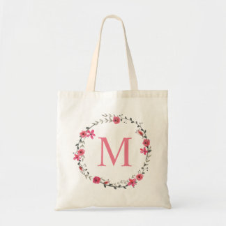 Whimsical Pink Floral Wreath Monogram Budget Tote Bag