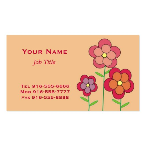 Whimsical Pink Flowers Business Cards