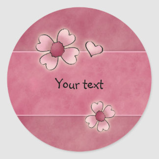 Whimsical pink flowers classic round sticker