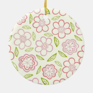 Whimsical Pink Flowers Design Ceramic Ornament