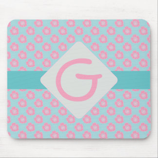 Whimsical Pink Flowers Mouse Pad