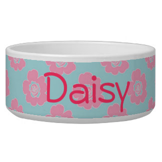 Whimsical Pink Flowers Dog Bowl