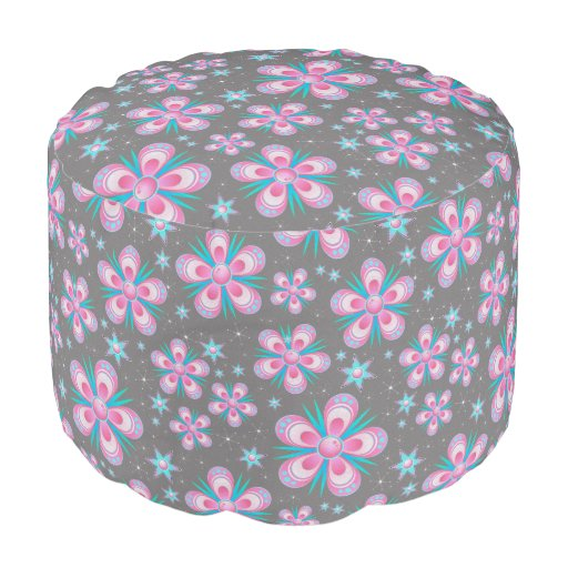 Whimsical Pink Flowers Round Pouf