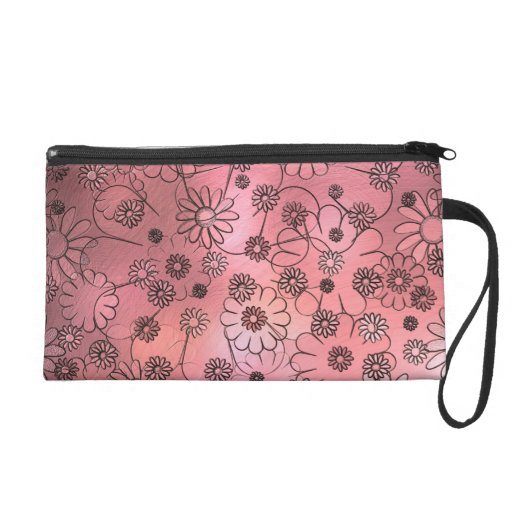 Whimsical Pink Flowers Wristlet Purse
