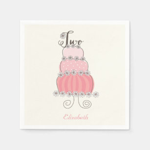 Whimsical Pink Girl 2nd Birthday Cake Kids Party Paper Napkin