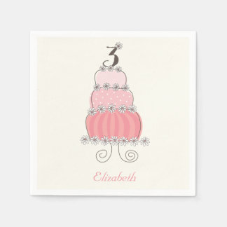 Whimsical Pink Girl 3rd Birthday Cake Kids Party Standard Cocktail Napkin
