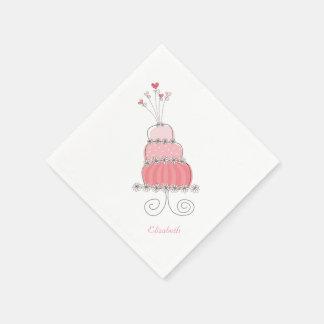 Whimsical Pink Girl Daisy Birthday Cake Kids Party Napkin
