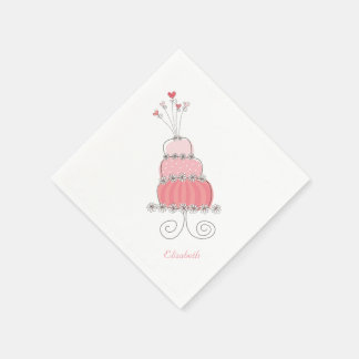 Whimsical Pink Girl Daisy Birthday Cake Kids Party Standard Cocktail Napkin