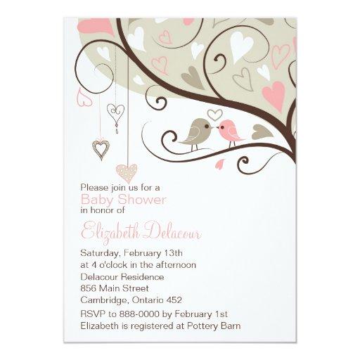 whimsical pink gray birds baby shower invitation 5 x 7 invi