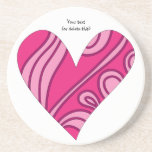 Whimsical pink heart doodle coaster