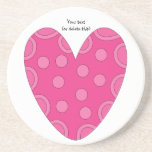Whimsical pink heart doodle coasters