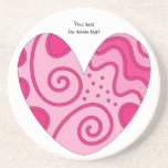 Whimsical pink heart doodle drink coaster