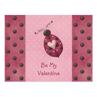 Whimsical Pink Ladybug Valentines Postcard