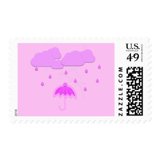 Whimsical Pink Monochromatic Baby Girl Stamps