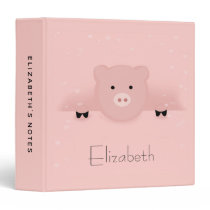 Whimsical Pink Pig 3 Ring Binder