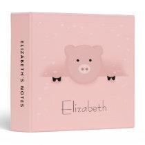 Whimsical Pink Pig 3 Ring Binder