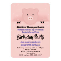 Whimsical Pink Pig Birthday Party Invitation