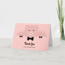 Whimsical Pink Pig in a Bow Tie Thank You Card