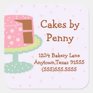 Whimsical Pink Polka Dot Cake Square Sticker