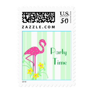 Whimsical Pink Polka Dot Garden Flamingo Stamp