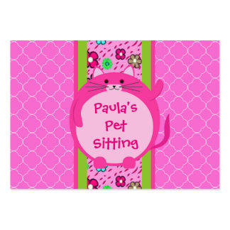 Whimsical Pink Puff Kitty Business Card