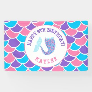 Whimsical Pink Purple and Blue Girl Birthday Party Banner