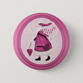 Whimsical Pink Retro Santa Button