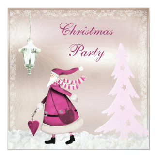 Whimsical Pink Retro Santa Christmas Party Invites