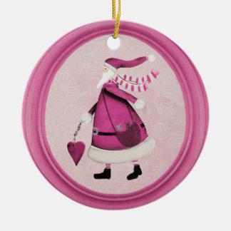 Whimsical Pink Retro Santa Ornament