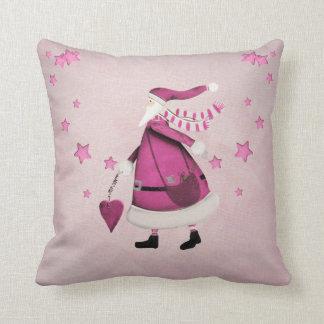 Whimsical Pink Retro Vintage Santa Claus Pillows