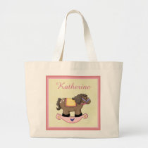 Whimsical Pink Rocking Horse Large Tote Bag