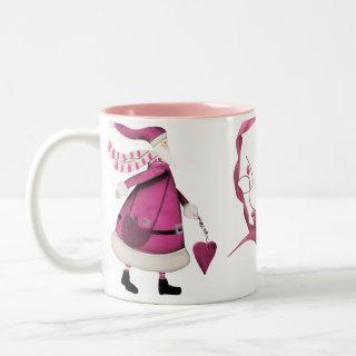Whimsical Pink Santas & Heart Ribbon Personalized Coffee Mugs