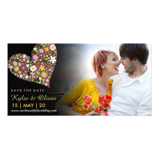 Whimsical Pink Spring Flowers Heart Save The Date Photo Cards