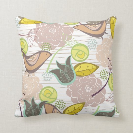Whimsical Pink Sweet Birds Floral Garden Cushion P