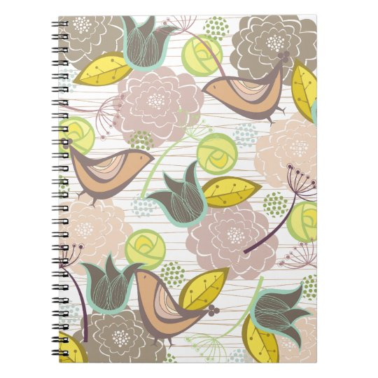 Whimsical Pink Sweet Birds Floral Garden Notebook