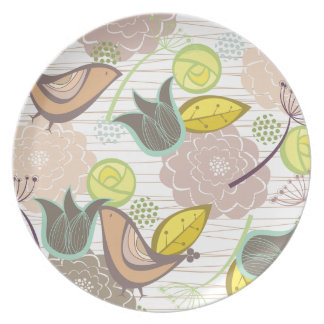 Whimsical Pink Sweet Birds Floral Garden Plate