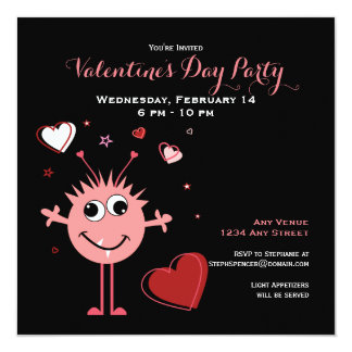 Whimsical Pink Valentine Alien Monster Party Card