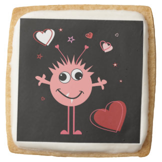 Whimsical Pink Valentine Alien Monster Square Shortbread Cookie