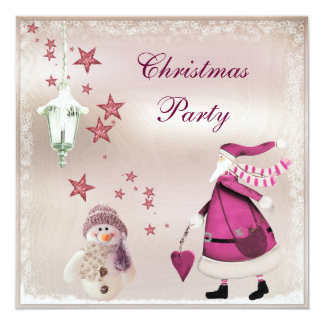 Whimsical Pink Vintage Retro Santa Party Invites