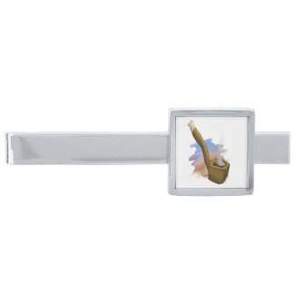 Whimsical Pipe Illustration Silver Tie Bar
