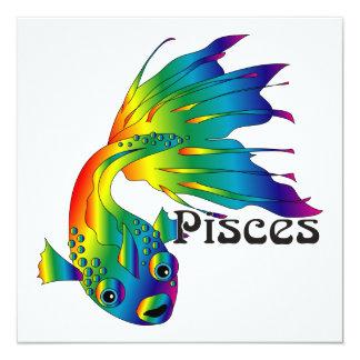 "Whimsical Pisces Invitations 5.25"" Square Invitation Card"