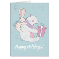 Whimsical Polar Bear Rabbit Happy Holidays Card
